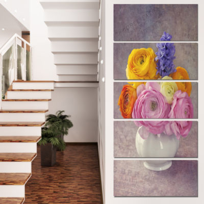 Design Art Multicolor Ranunculus Flowers In Vase Floral Canvas Art Print  - 5 Panels