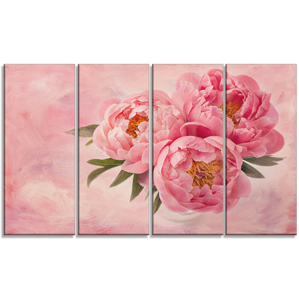Designart Peony Flowers In Vase On Pink Floral Canvas Art Print - 4 Panels