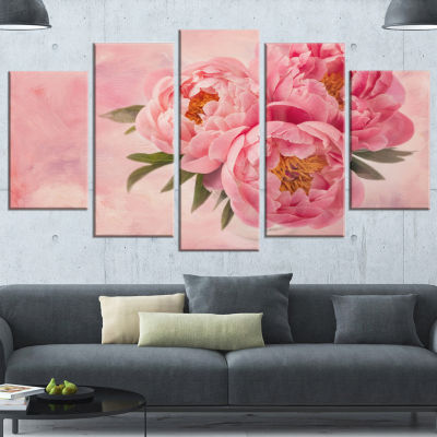 Designart Peony Flowers In Vase On Pink Large Floral Canvas Art Print - 5 Panels