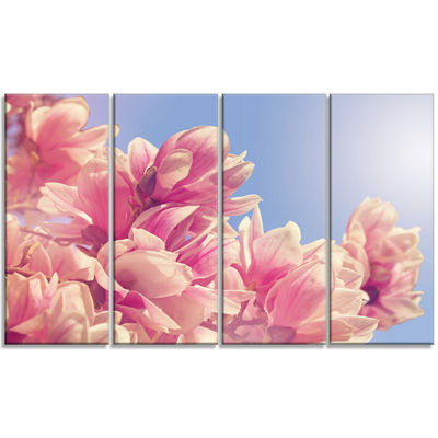 Designart Magnolia Flowers On Sky Background Floral Canvas Art Print - 4 Panels
