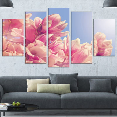 Designart Magnolia Flowers On Sky Background Floral Canvas Art Print - 5 Panels