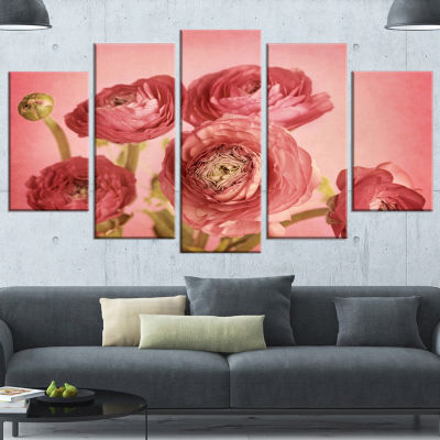 Designart Bunch Of Ranunculus Flowers On Pink Large Floral Canvas Art Print - 5 Panels