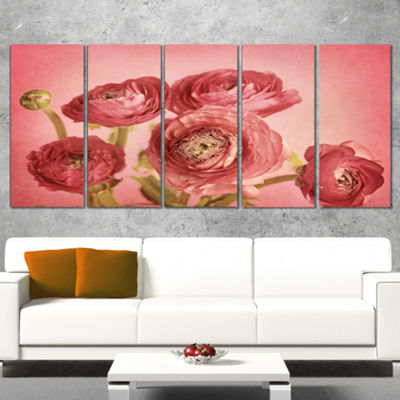 Designart Bunch Of Ranunculus Flowers On Pink Floral Canvas Art Print - 5 Panels