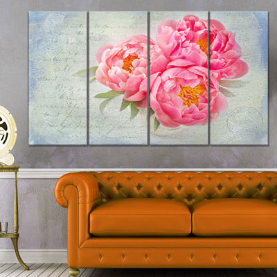 Designart Pink Peony Flowers In White Vase FloralCanvas Art Print - 4 Panels