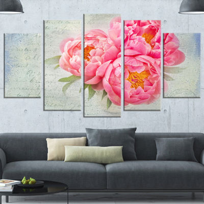 Designart Pink Peony Flowers In White Vase LargeFloral Canvas Art Print - 5 Panels