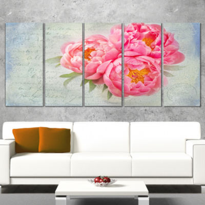 Pink Peony Flowers In White Vase Floral Canvas ArtPrint - 5 Panels