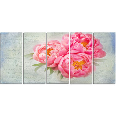 Designart Pink Peony Flowers In White Vase FloralCanvas Art Print - 5 Panels