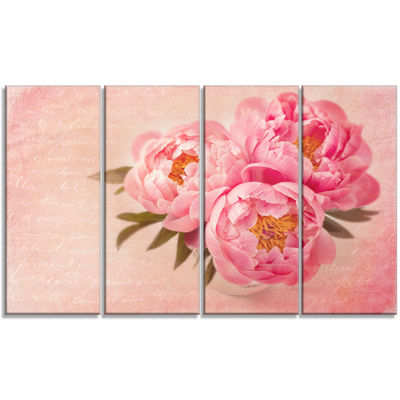 Designart Peony Flowers Against Scribbled Back Floral Canvas Art Print - 4 Panels