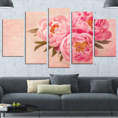 Design Art Peony Flowers Against Scribbled Back Floral Canvas Art Print - 4 Panels