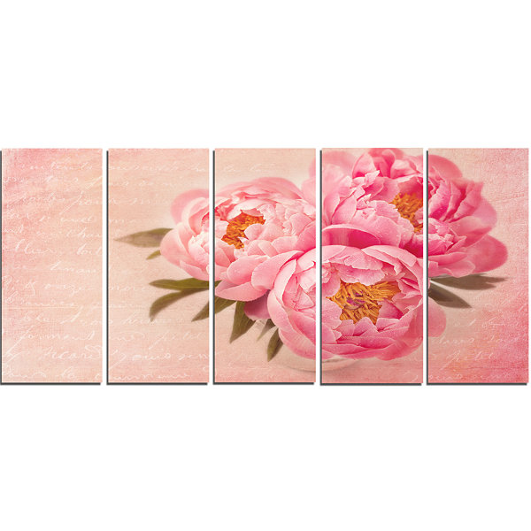 Designart Peony Flowers Against Scribbled Back Floral Canvas Art Print - 5 Panels