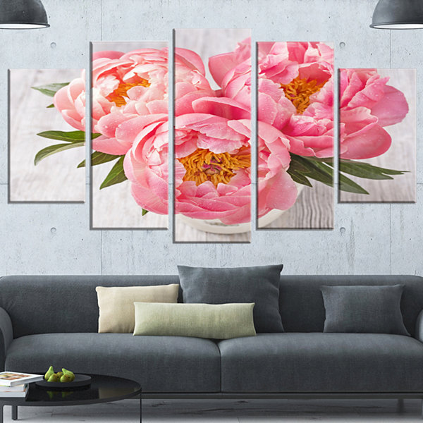Design Art Peony Flowers On White Floor Large Floral Canvas Art Print - 5 Panels