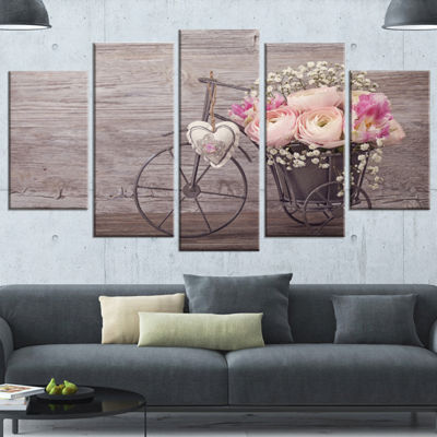 Designart Ranunculus Flowers In Bicycle Vase LargeFloral Canvas Art Print - 5 Panels
