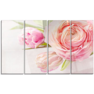 Full Bloom And Blooming Flowers Floral Canvas ArtPrint - 4 Panels