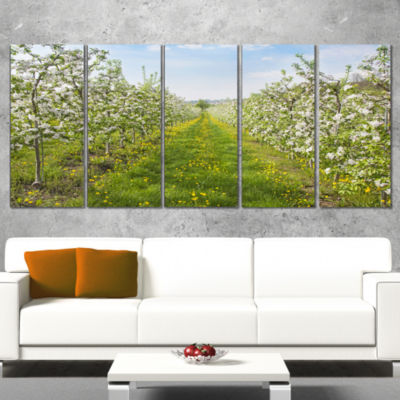 Bloomy Peach Forest Photography Floral Canvas ArtPrint - 5 Panels