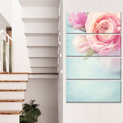 Designart Full Bloom Pink Flowers In Vase FloralCanvas Art Print - 4 Panels