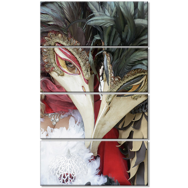 Designart Carnival In Venice In Italy Floral Canvas Art Print - 4 Panels