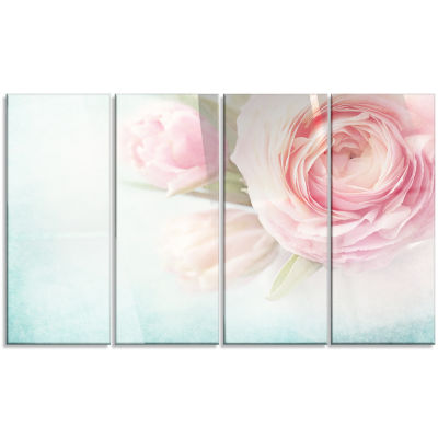 Pink Flowers Against Blue Background Floral CanvasArt Print - 4 Panels