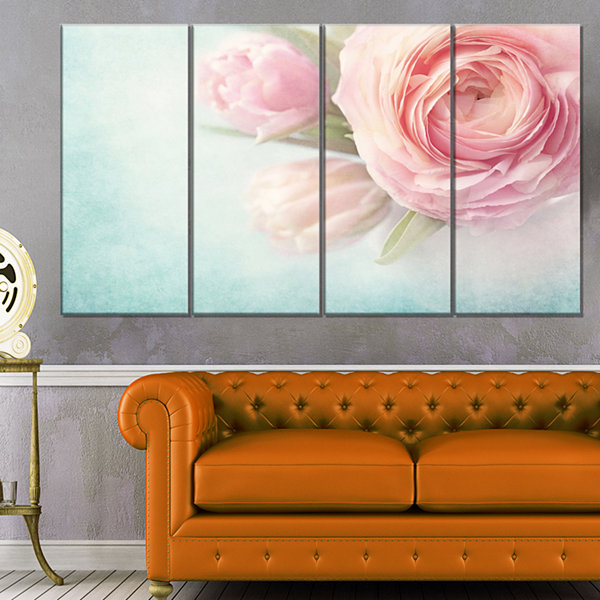 Designart Pink Flowers Against Blue Background Floral Canvas Art Print - 4 Panels