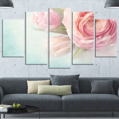 Designart Pink Flowers Against Blue Background Large Floral Canvas Art Print - 5 Panels