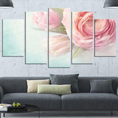 Designart Pink Flowers Against Blue Background Floral Canvas Art Print - 5 Panels