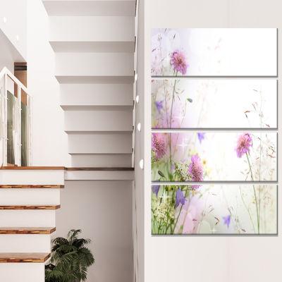 Design Art Beautiful Pastel Floral Pattern FloralCanvas Art Print - 4 Panels