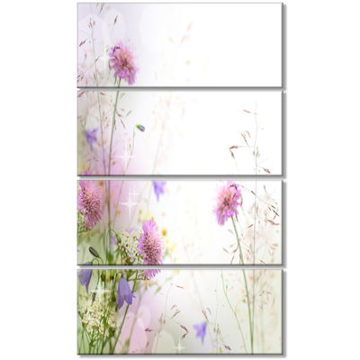 Designart Beautiful Pastel Floral Pattern FloralCanvas Art Print - 4 Panels