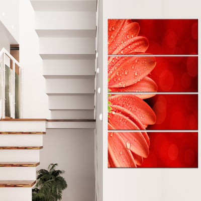 Large Red Flower Petals On Red Floral Canvas Art Print - 4 Panels