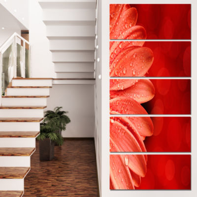 Designart Large Red Flower Petals On Red Floral Canvas Art Print  - 5 Panels