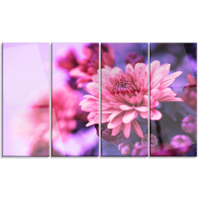 Colorful Autumnal Chrysanthemum Floral Canvas ArtPrint - 4 Panels