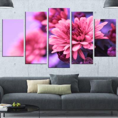 Colorful Autumnal Chrysanthemum Large Floral Canvas Art Print - 5 Panels