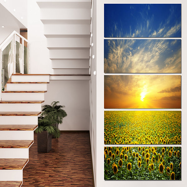 Designart Beauty Sunset Over Sunflowers Field Floral Canvas Art Print  - 5 Panels