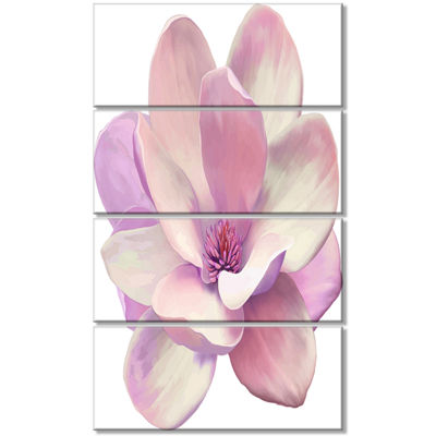 Designart Cute Light Pink Magnolia Flower FlowersCanvas Wall Artwork - 4 Panels