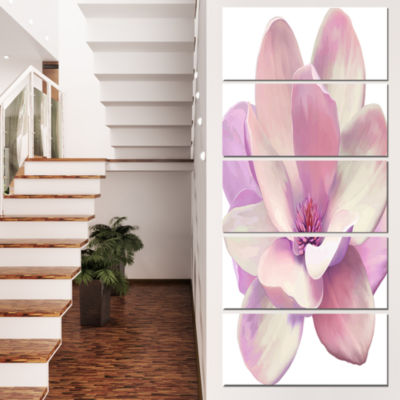 Designart Cute Light Pink Magnolia Flower FlowersCanvas Wall Artwork  - 5 Panels
