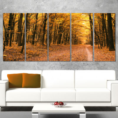 Pathway In Yellow Autumn Forest Forest Canvas ArtPrint - 5 Panels