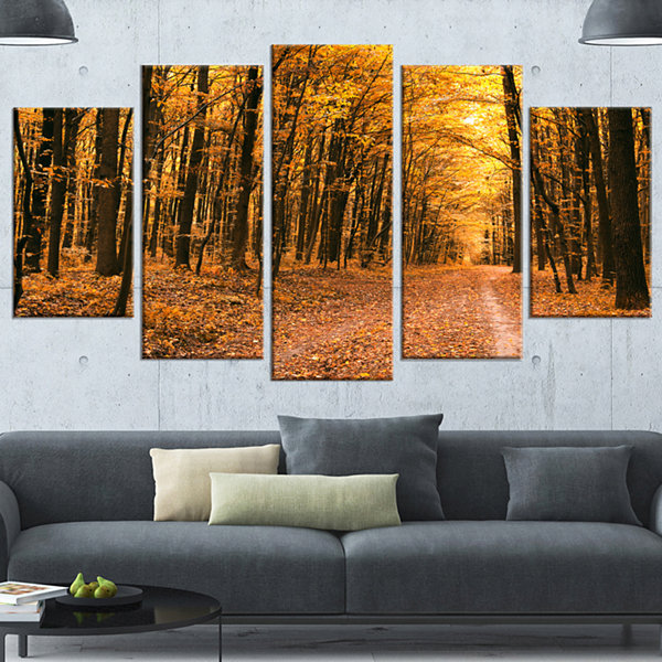Design Art Pathway In Yellow Autumn Forest ForestCanvas Art Print - 5 Panels