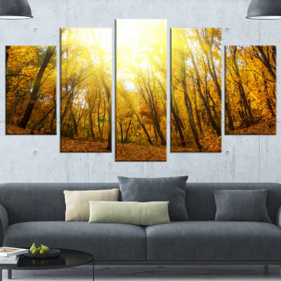 Designart Yellow Autumn Forest In Sunlight ForestCanvas Art Print - 5 Panels