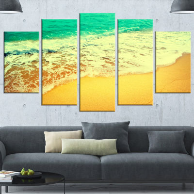 Designart Beautiful Sea Summer Background Large Seashore Canvas Wall Art - 5 Panels