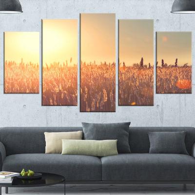 Designart Rural Land Under Shining Sun Large Landscape Canvas Art - 5 Panels