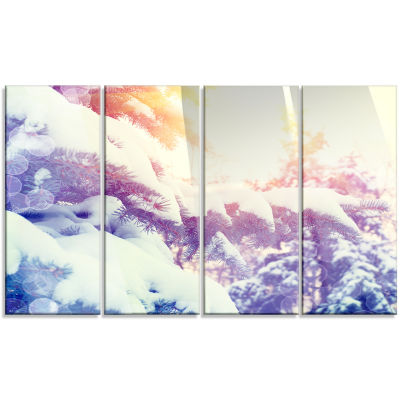 Winter Pine Trees In Mountains Large Landscape Canvas Art - 4 Panels