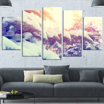 Designart Winter Pine Trees In Mountains Large Landscape Wrapped Canvas Art - 5 Panels
