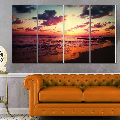 Sea Sunset Landscape View Large Seashore Canvas Wall Art - 4 Panels