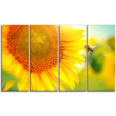 Beautiful Sunflowers Blooming Large Animal CanvasArt Print - 4 Panels