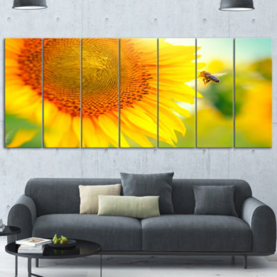 Design Art Beautiful Sunflowers Blooming Large Abstract Canvas Wall Art - 5 Panels