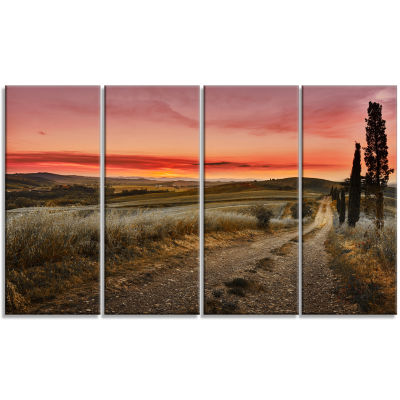 Cypress Trees On Road Tuscany Large Landscape Canvas Art - 4 Panels