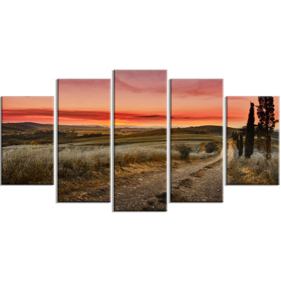 Cypress Trees On Road Tuscany Large Landscape Wrapped Canvas Art - 5 Panels