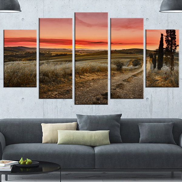 Design Art Cypress Trees On Road Tuscany Large Landscape Wrapped Canvas Art - 5 Panels