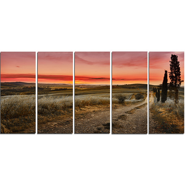 Designart Cypress Trees On Road Tuscany Large Landscape Canvas Art - 5 Panels