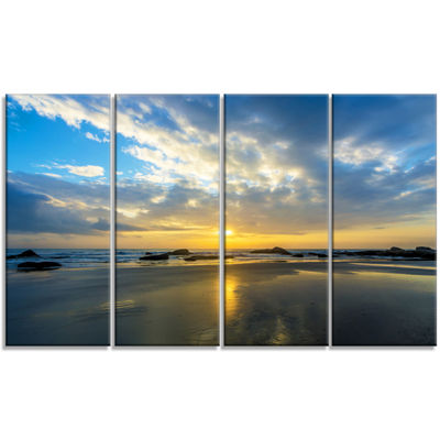Designart Beautiful Sunrise And Seashore Large Seashore Canvas Wall Art - 4 Panels