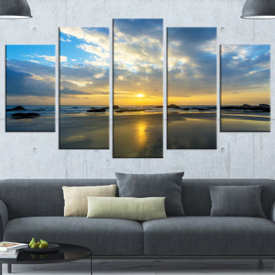 Beautiful Sunrise And Seashore Large Seashore Wrapped Canvas Wall Art - 5 Panels