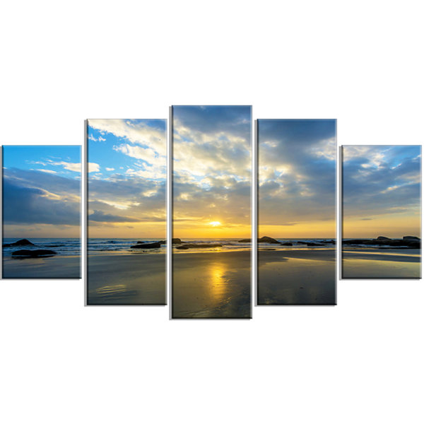 Designart Beautiful Sunrise And Seashore Large Seashore Wrapped Canvas Wall Art - 5 Panels